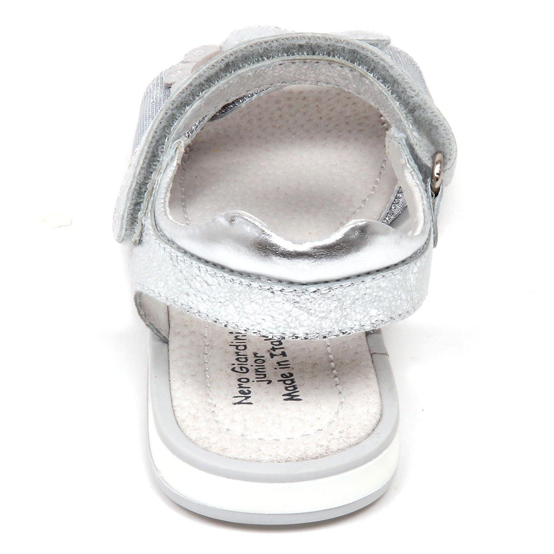 D0768 sandalo bimba NERO GIARDINI scarpa strappo argento shoe kid girl [28] Para Barato RqE3I