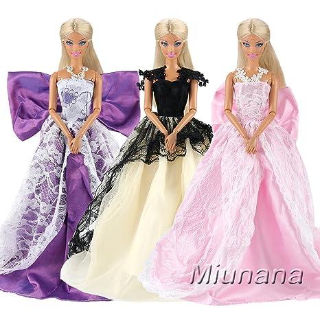 5931080b689f Miunana 3 PCS Vestiti Per Bambola Barbie  Abito Lungo Nero E Bianco Con  Pizzo +