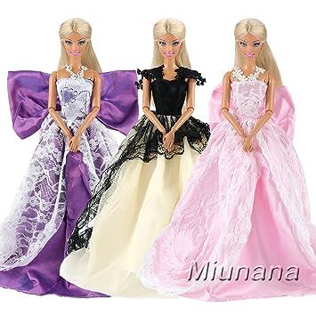 Miunana 3 Piezas Princesa Vestido De Noche Traje De Ropa Hermoso Vestir Fiesta Cumpleaños Boda Como Regalo Para Barbie Muñeca Púrpura Negro Rosado