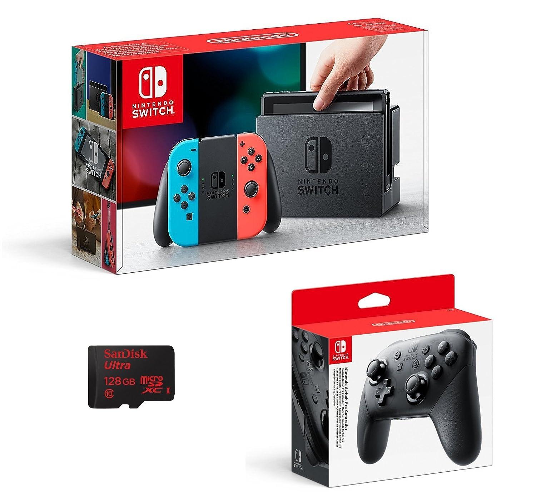 Nintendo Switch - Color Azul Neón/Rojo Neón + Mando Pro ...