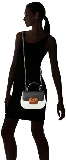 Love Moschino Borsa Calf Pu Biancocuoionero Borse a spalla Donna, Multicolore (White tan black), 8x17x24 cm (B x HT)