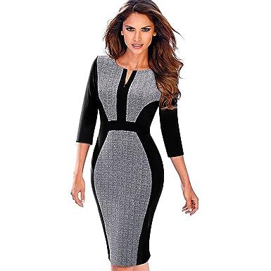 0cbff1d0423c Women's Retro Contrast Patchwork Work Business Vestidos Office Bodycon  Zipper Dress Gray and Black S