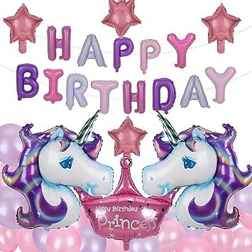 Herefun Decoraciones de Fiesta de Unicornio, Feliz Cumpleaños Ballon Banner, Unicornio Aluminio Globo Látex Fiesta en Globo Decoración Niños Niñas ...