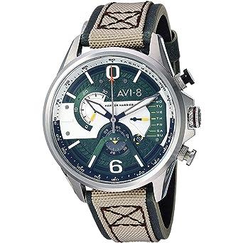 AVI-8 Hawker Harrier II Reloj de Hombre Cuarzo 43mm Correa de Cuero AV-4056-02: Amazon.es: Relojes