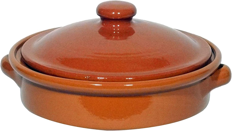 Amazing Cookware Fuente Redonda con Tapa de 20cm, una Maravillosa Pieza de Cocina de Terracota Natural
