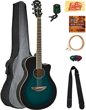 Yamaha APX600 Thin Body Acoustic-Electric Guitar - Oriental Blue Burst Bundle with Gig Bag