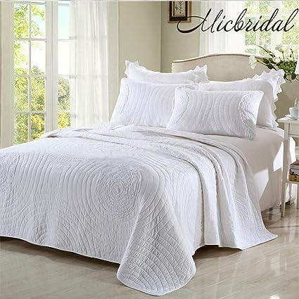 Amazon Micbridal Quilt King Sets 100 Cotton Solid White Floral