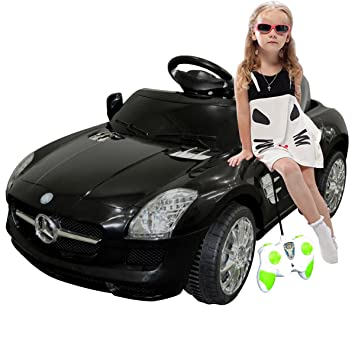 black mercedes benz sls rc mp3 kids ride on car electric battery toy by