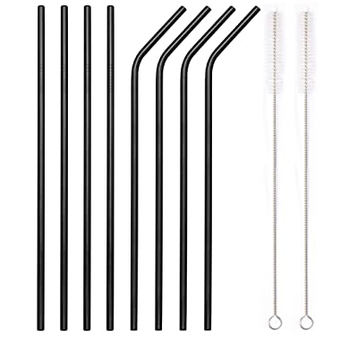YIHONG Set of 8 Stainless Steel Metal Straws - Ultra Long 10.5 Inch Reusable Straws For Tumblers Cold Beverage - 4 Straight+4 Bent+2 Brushes+1 Pouch - Black