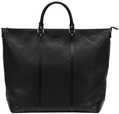 d37615e09b7 Amazon.com  Gucci Black GG Diamante Leather Top Handle Large Tote ...