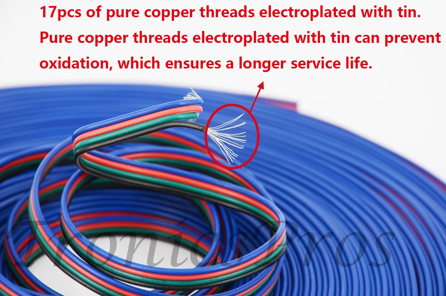 LitaElek 20m 2 Pin LED Strip Extension Cable Cord Connector Wire for SMD 3528 2835 5050 5630 Single Colour Flex LED Strip LED Tape LED Ribbon Flexible LED String LED Rope Light and Other DC12V Devices