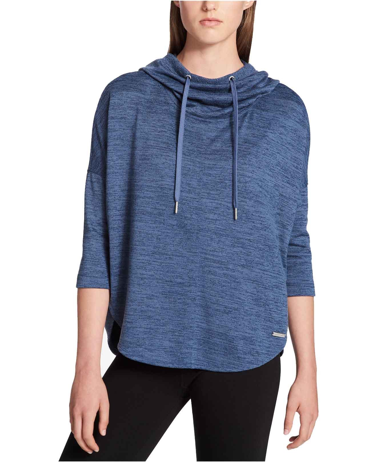 Calvin Klein Women's Performance Hacci Cowl Neck Hoodie (Eclipse Combo, Large)