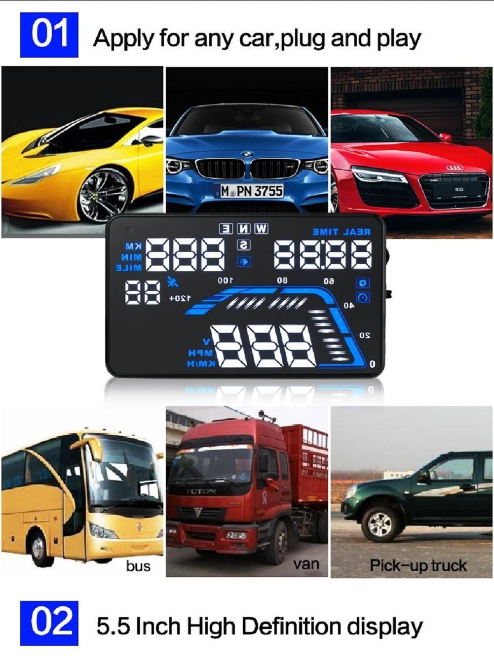 MRCARTOOL 5.5'' Q7 Car HUD Head Up Display Speedometers Car Overspeed GPS Warning Dashboard Windshield Projector Reflective Film by AUTOOL (Image #3)