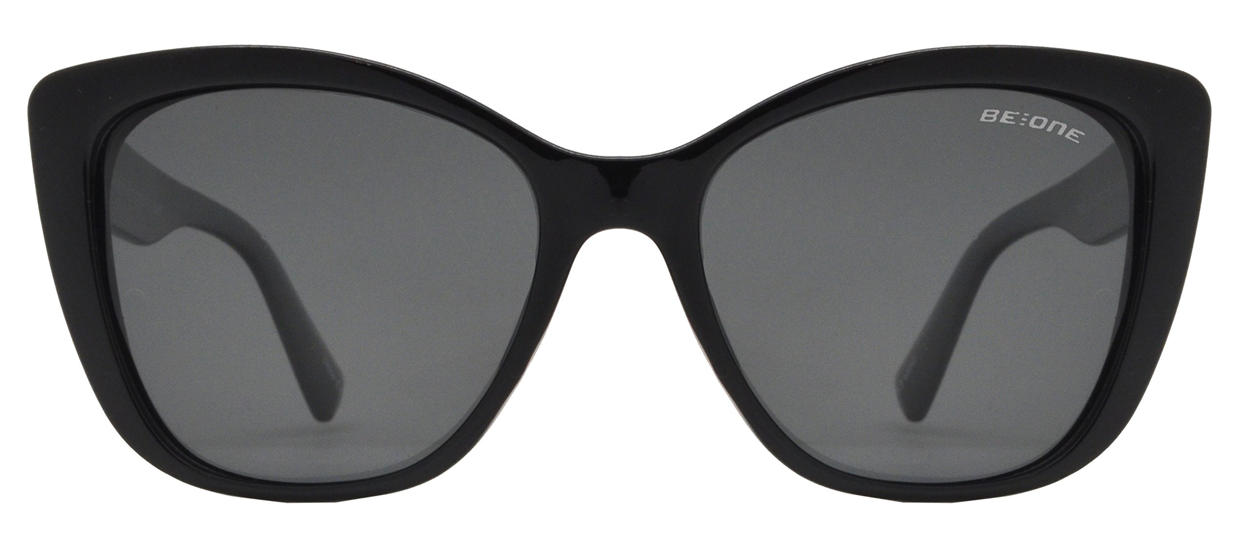 Be One Women Cat Eye Oversize Design Sunglasses- Polarized UV400 Classic Retro Black Frame with Black Lens