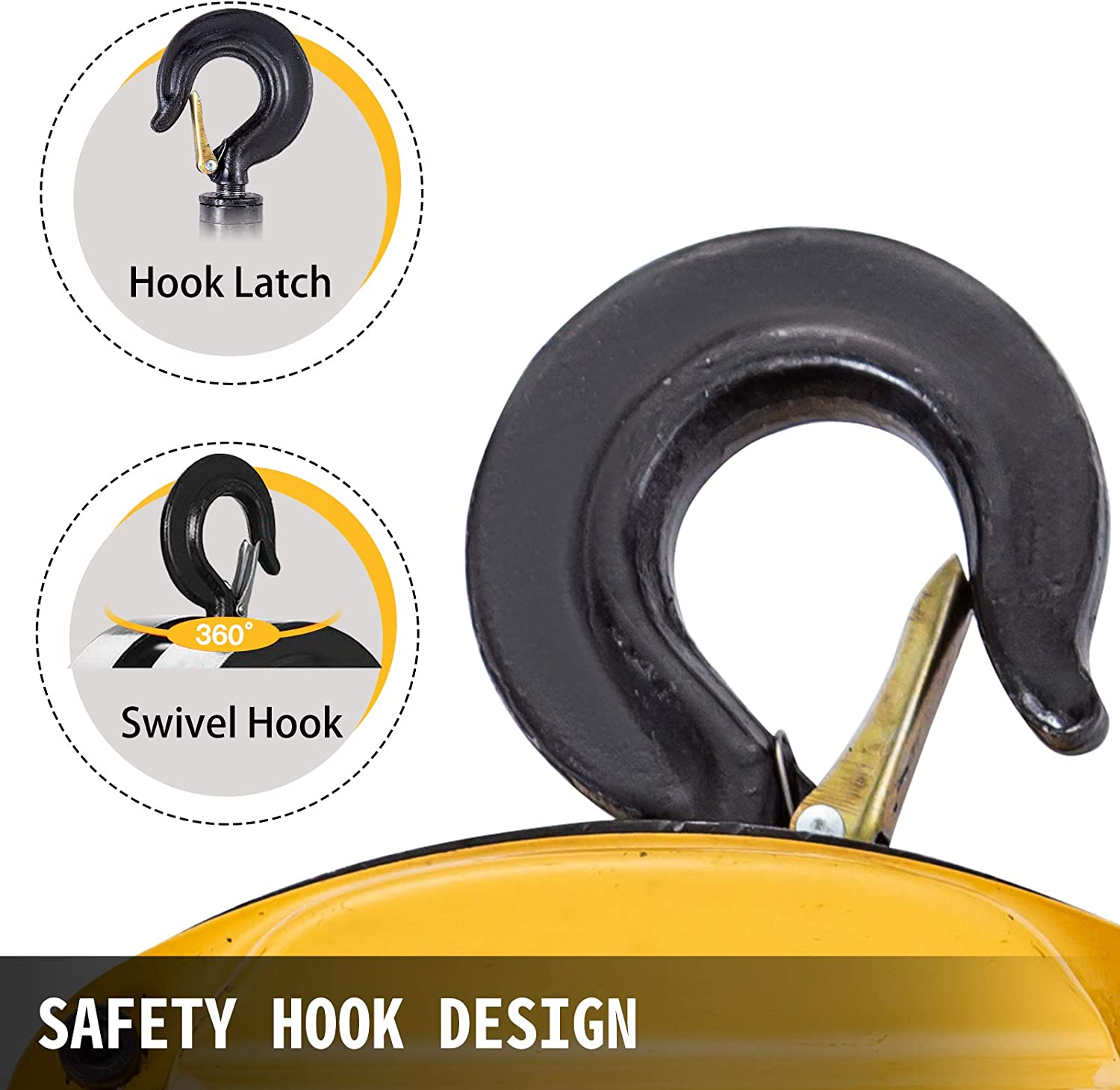 BestEquip Chain Hoist 2200lbs//1ton Chain Block Hoist Manual Chain Hoist 3m//10ft Block Chain Hand Chain Lifting Hoist w//Two Hooks Chain Pulley Tackle Hoist Winch Lifting Pulling Equipment Yellow