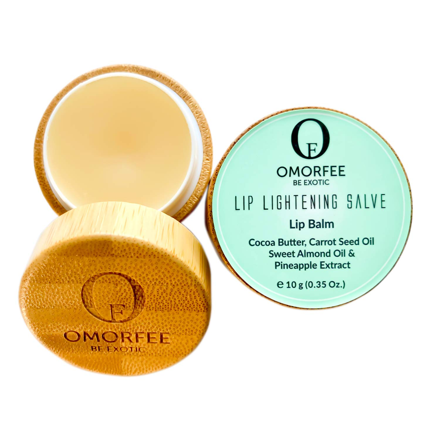 Omorfee 100% Organic Lip Lightening Balm, Lip balm for Dark Lips, Lip Balm with SPF, Natural Lip Protection, Lip Repair, Lip Moisturizer, Cocoa Butter, Carrot Seed Oil & Pineapple Extract -10g/ 0.35Oz