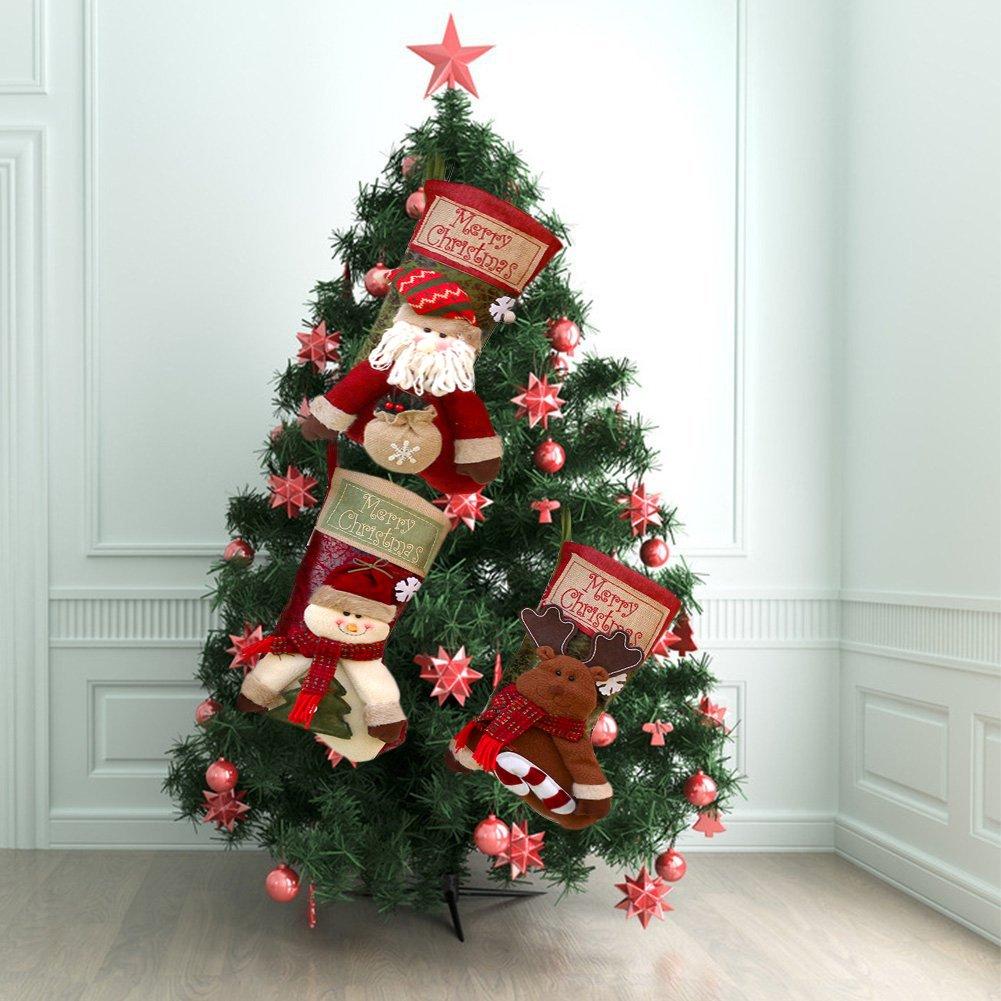 ZKLKLO 3 PCS Set Christmas Stockings, 17.7'' Xmas Stockings Hanging, 3D Santa Claus/Snowman/Reindeer Character Santa Gifts Socks Party Favors Decorative Hanging Ornaments