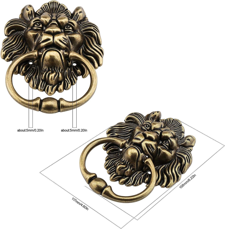 15,8 cm L/öwenkopf-Klopfer mit Schrauben poliertes Bronze dekorativer Metall-Klopfer klassisches antikes Design f/ür Haust/üren und Hauptvord/ächer