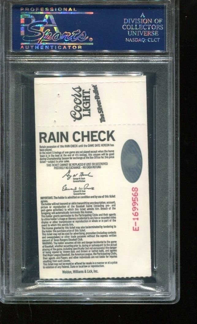 Nolan Ryan Signed Ticket 301st Win 8/22/90 Autographed Arlington PSA/DNA *2744 at Amazons Sports Collectibles Store
