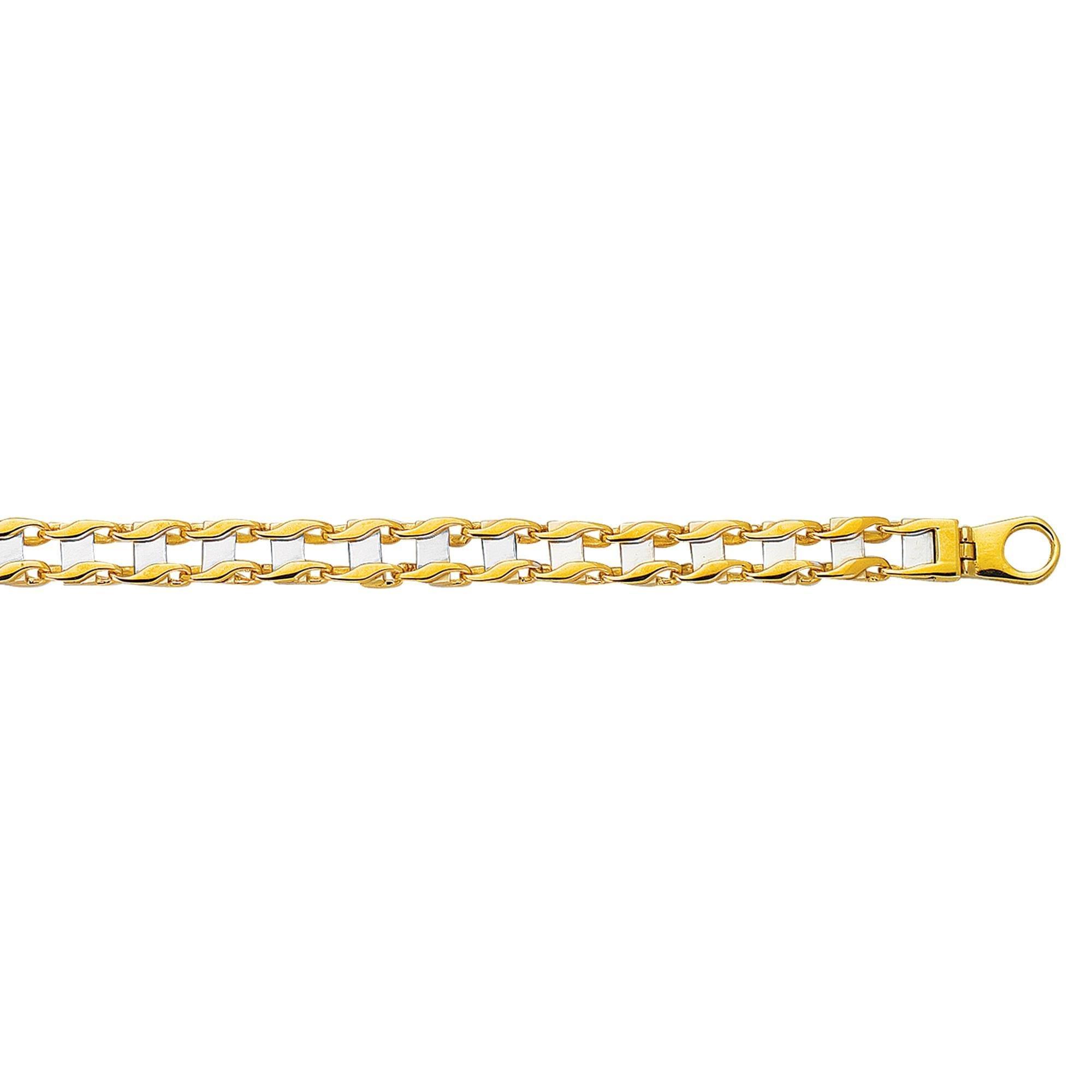 14k Two Tone Yellow And White Gold 8.5 Inch Polish Finish Rail Road Bracelet