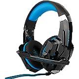 Audífonos Gamer de Diadema con Sonido HD Estéreo 360° y Luz LED, Aislante de Ruido Externo y Micrófono, Control de Volumen, C