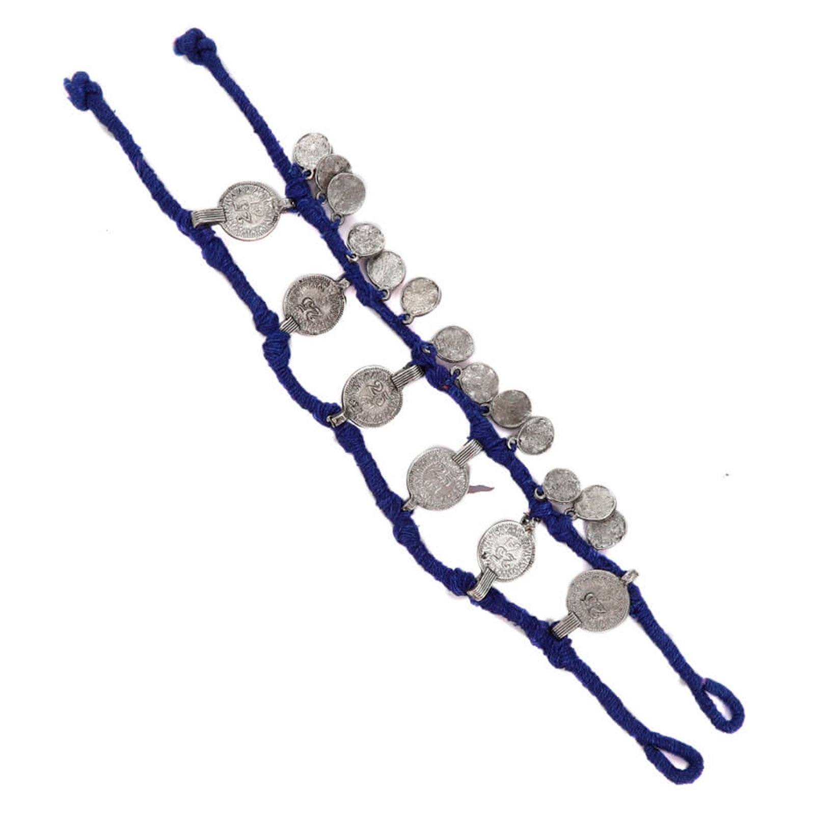Tjori Anklet with German Silver Trinkets Handcrafted in Navy Blue Threads by Tjori
