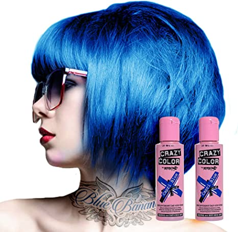 Tinte capilar semi-permanente de Crazy Color 100ml (Capri Blue - azul intenso)