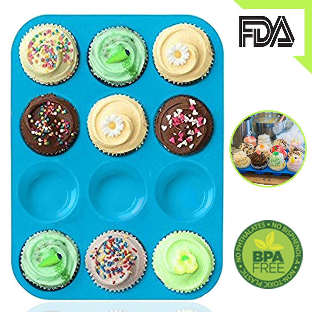 Silicone Muffin Tray Cupcake Baking Pan 12 cup, Non - Stick Silicone Mold, Dishwasher - Microwave Safe by Amison (Blue)