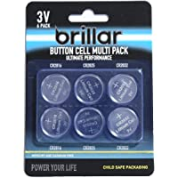 Brillar 6 Assorted Mixed Lithium Button Cell Batteries CR2016 CR2025 CR2032 Power Energy, (BR0053)
