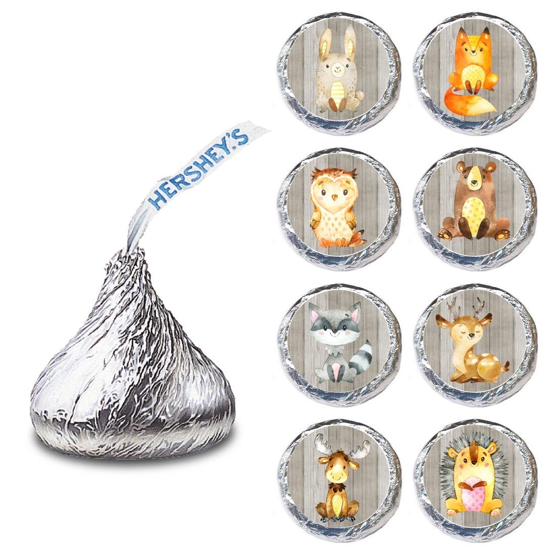 Woodland Forest Animal Label for HERSHEY'S KISSES® chocolates - Party Candy Stickers - Set of 240