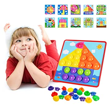 ZGWJ Button Art Color Matching Mosaic Pegboard Puzzle Game ...