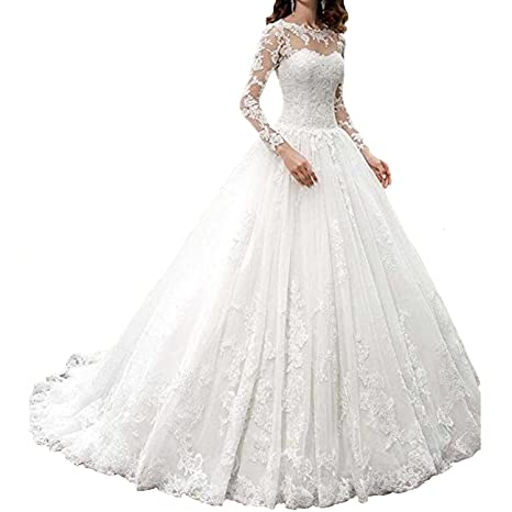 Review Fair Lady 2017 New Women's Long Sleeves Scoop Lace Ball Gown Wedding Dress Bridal Gowns