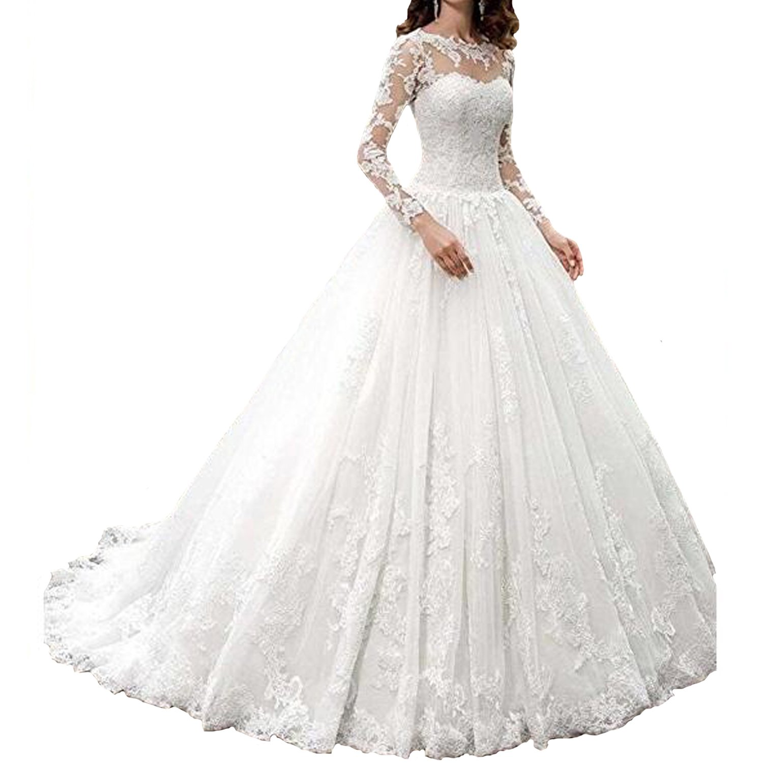 Fair Lady 2017 New Women's Long Sleeves Scoop Lace Ball Gown Wedding Dress Bridal Gowns(Ivory,4)