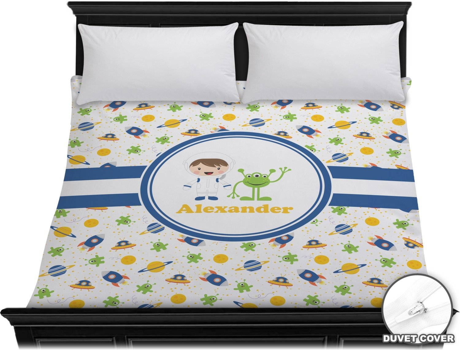 Boy's Space Themed Duvet Cover - King (Personalized)