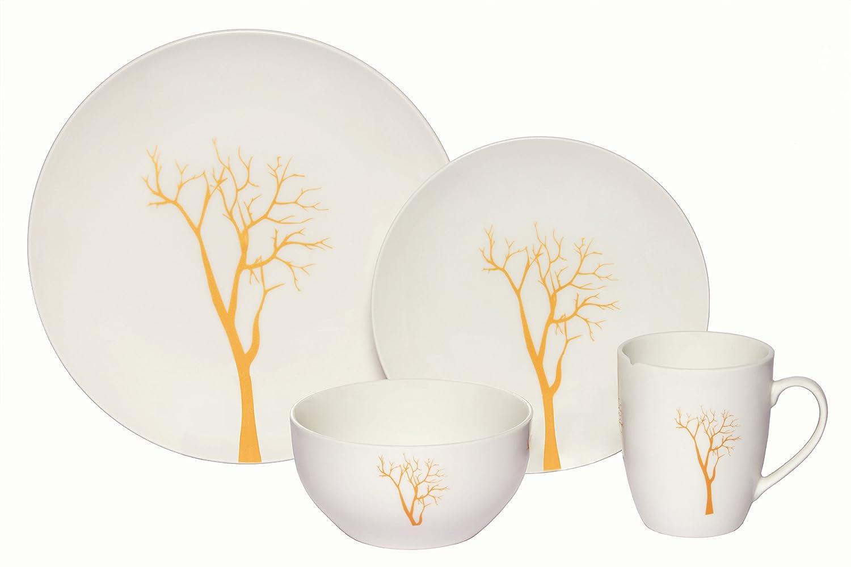 Melange Coupe 16-Piece Porcelain Dinnerware Set | Gold Tree Collection | Service for 4 | Microwave, Dishwasher & Oven Safe | Dinner Plate, Salad Plate, Soup Bowl & Mug (4 Each)