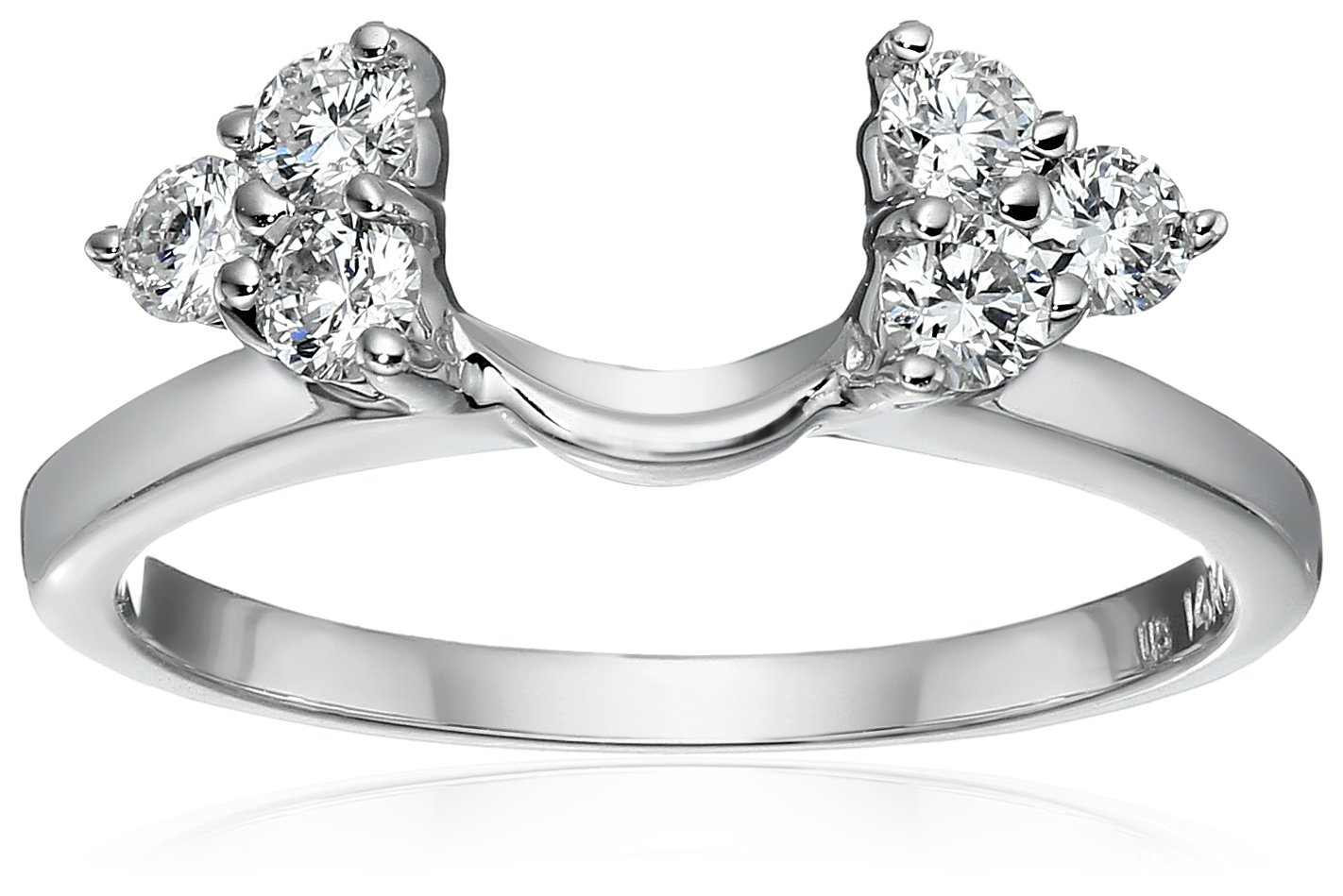 14k White Gold Round Diamond Solitaire Engagement Ring Enhancer (1/3 carat, H-I Color, I1-I2 Clarity), Size 6