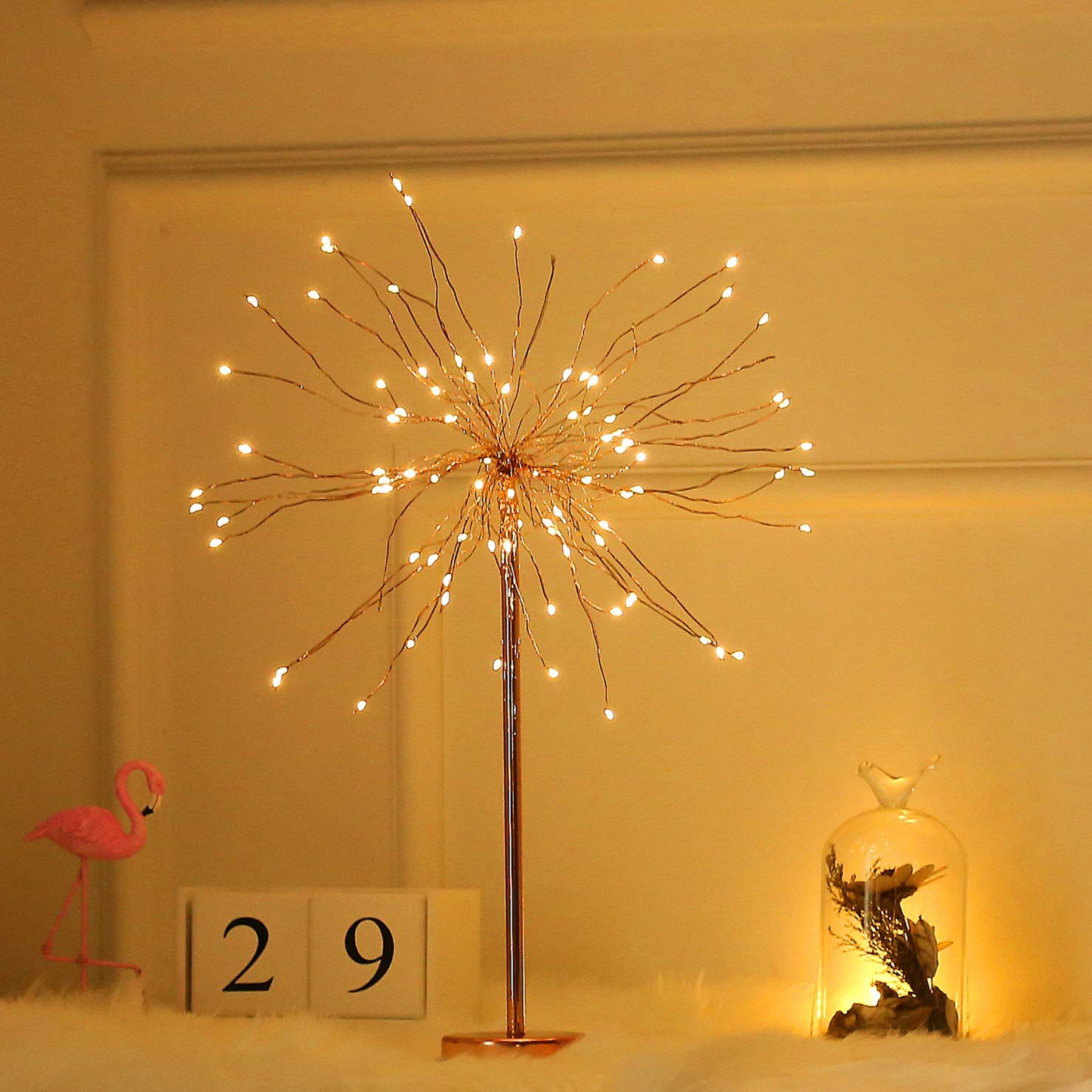 RXY-LAMP Nordic Style Living Room Dining Room Bedroom with Starry Night Light, Copper Wire Lamp (Size : 50cm)