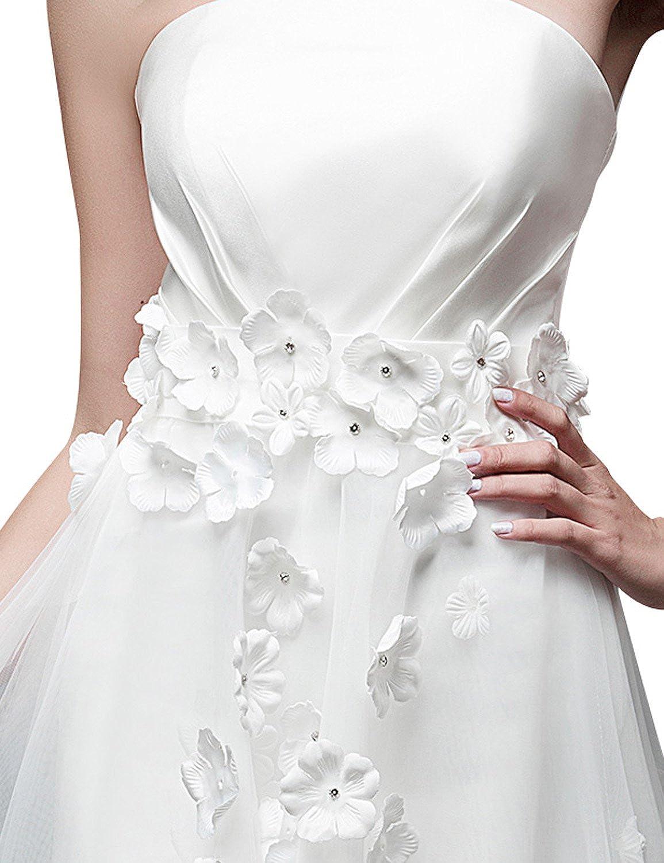 DJ Womens Train Hi-Lo Flower Appliques Wedding Dress DJ038
