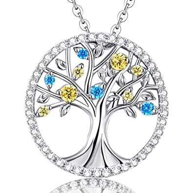 Amazon december birthstone blue topaz and citrine the tree of december birthstone blue topaz and citrine the tree of life halo pendant necklace sterling silver jewelry mozeypictures Choice Image