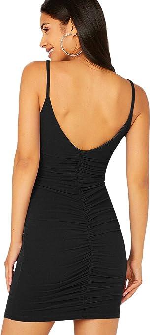 SOLY HUX Femme Robe Moulante avec Plis Robe Courte Col V Dos Nu sans Manche /à Bretelles Robe De Soir/ée Cocktail Clubwear