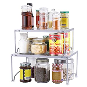 Simple Trending 2 Pack - Kitchen Cabinet and Counter Shelf Organizer, Expandable & Stackable, Silver