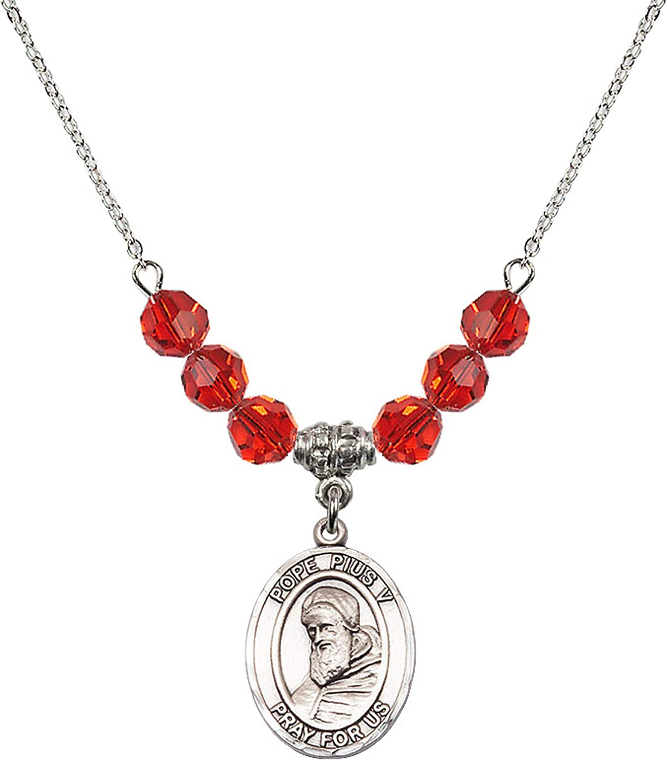 Bonyak Jewelry 18 Inch Rhodium Plated Necklace w// 6mm Red July Birth Month Stone Beads and Saint Pius V Charm