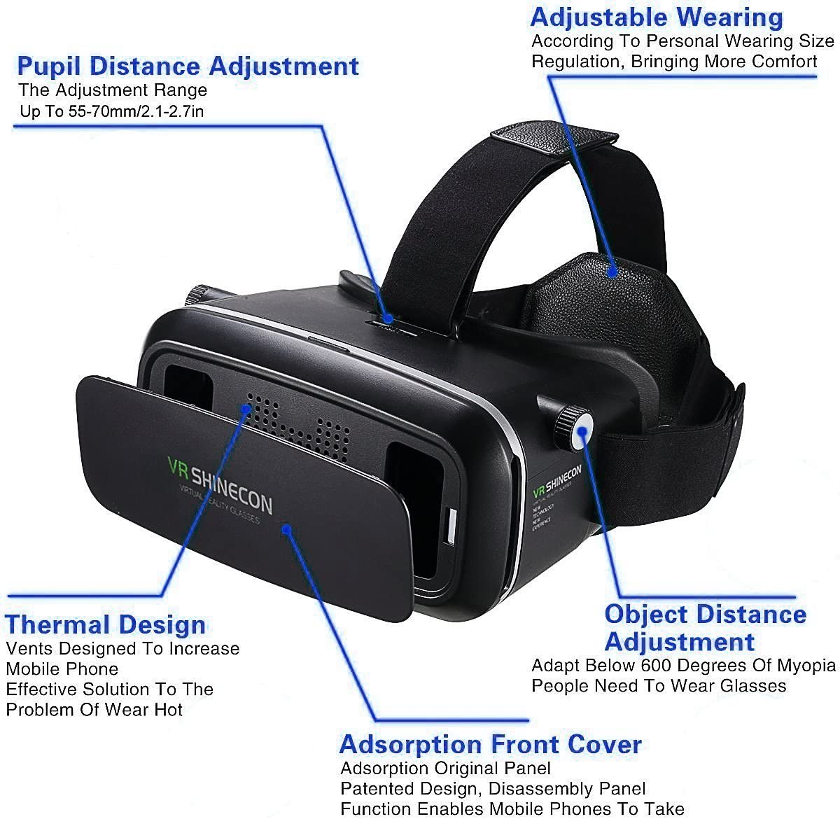Google Virtual Reality Headset Vr Glasses Vr Goggles For Iphone 6s 6 6 5 Huawei Samsung Galaxy Vr Headset Moto All Android Smartphone With Headphones Adjustable Eye Care System