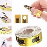 100PCS Nail Art Tips Golden Extension Forms Guide DIY Tool Acrylic UV Gel US