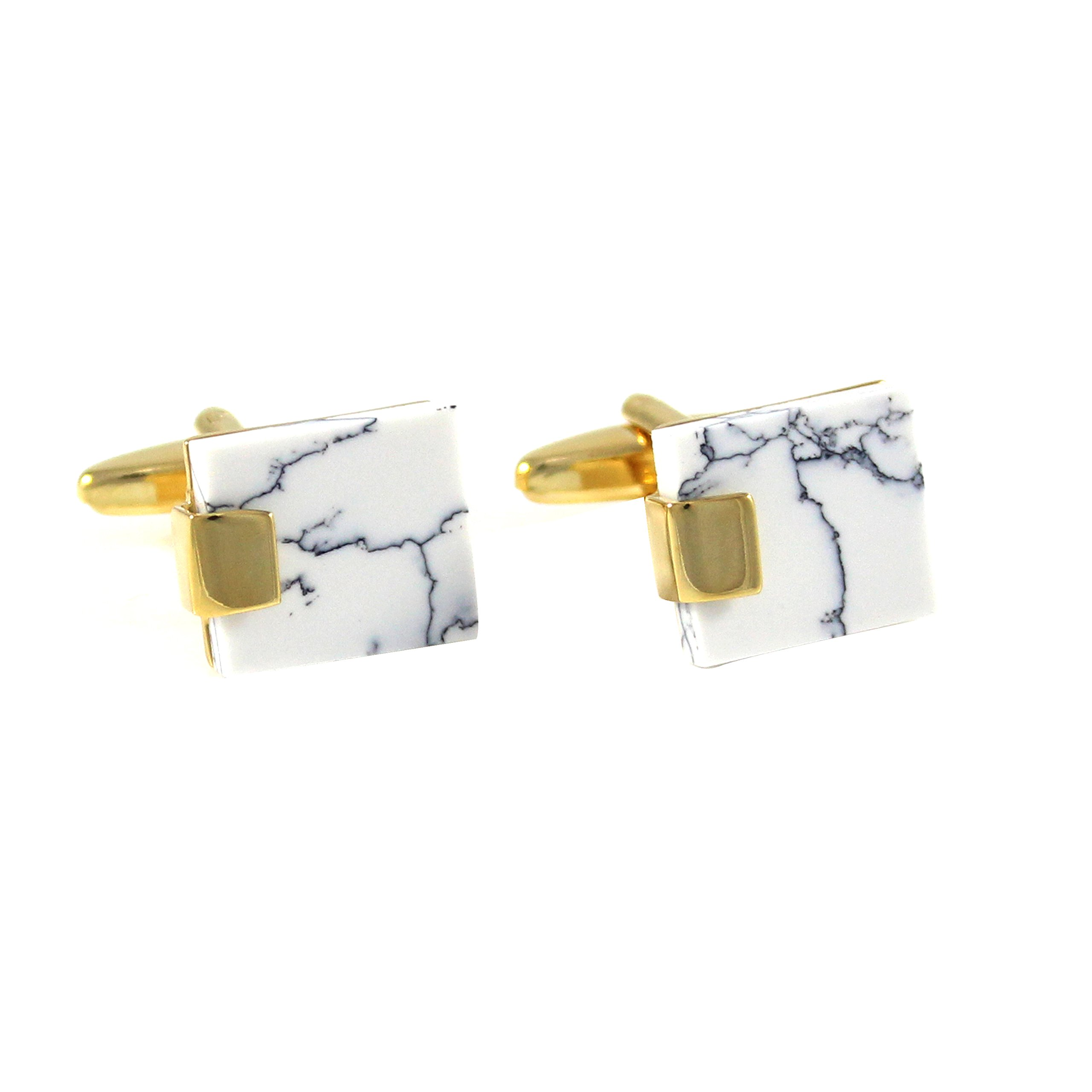 MENDEPOT Gold Plated Classic White Turquoise Cufflinks With Gift Box