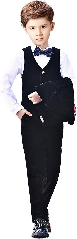 Yanlu 5 Piece Boys Suits Set Kids Formal Velvet Suit with Blazer Vest Pants Shirt and Bow Tie