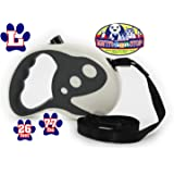 Matty's Pet Stop Retractable Dog Leash, 26 Ft for Large Dogs up to 77 Pounds, Tangle Free, One Button Break & Lock - White & Grey