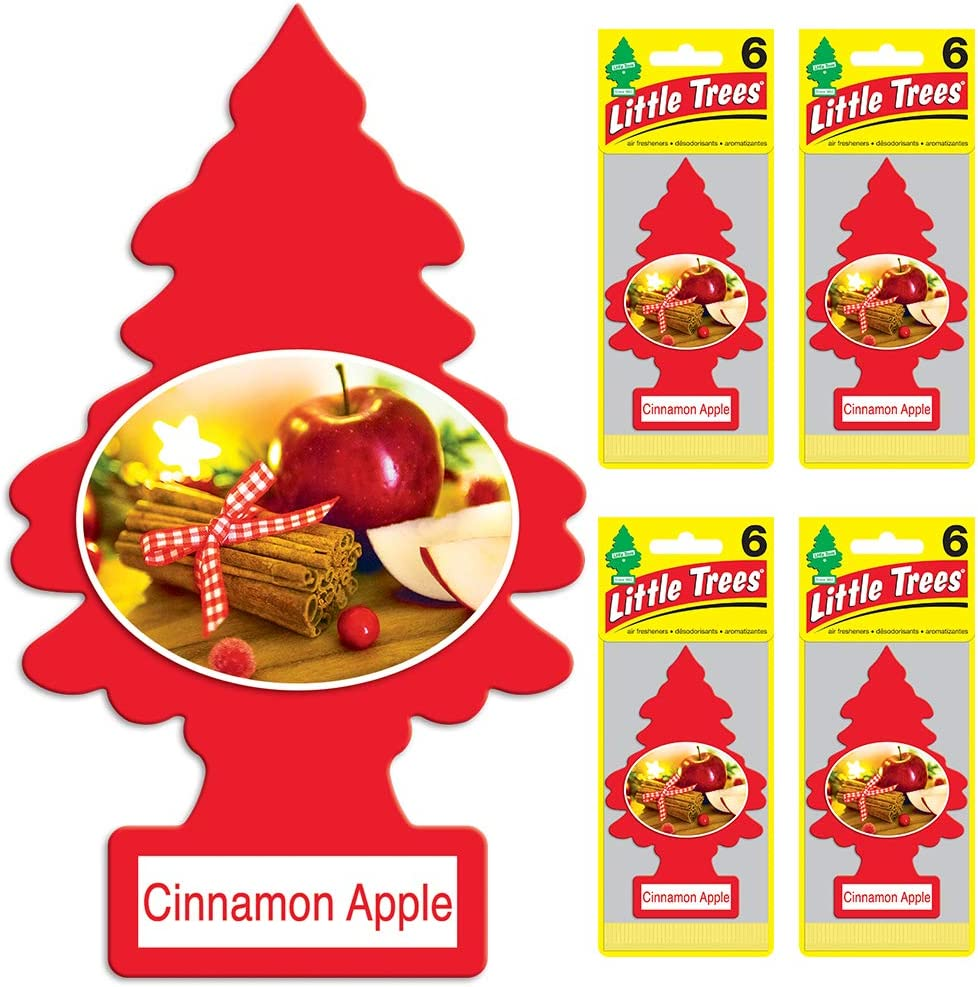 Little Trees Car Air Freshener | Hanging Tree Provides Long Lasting Scent for Auto or Home | Cinnamon Apple, 6-Packs (4 Count)