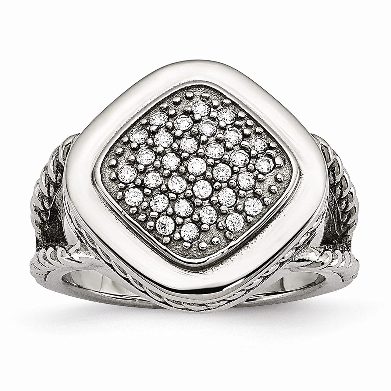 Chisel Stainless Steel Polished Simulated CZ Square Ring