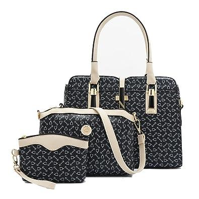 f4e830677d Fashion Women Shoulder Bag PU Leather Tote Handbag Crossbody Bag 3-Pcs Sets  (black